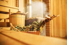 Interior Of Finnish Sauna, Classic Wooden Sauna, Relax In Hot Sauna