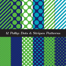 Green, Navy, Blue And White Mixed Polka Dots And Candy Stripes Seamless Vector Patterns. Modern Preppy Style Prints. Pattern Tile Swatches Included.