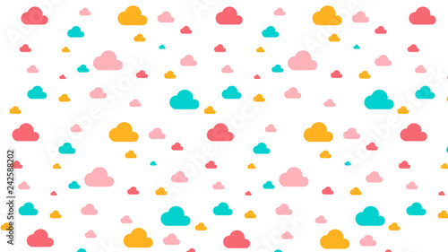 Abstract seamless pattern with Clouds in Soft gradient pastel background in sweet color
