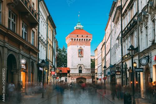Krakow, Poland. Florianska Gate Krakow, the Medieval Florianska
