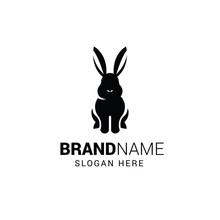 Rabbit Sitting Logo Template Isolated On White Background