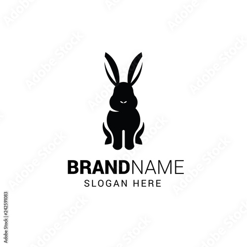 Rabbit sitting logo template isolated on white background Wall mural