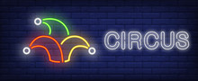 Circus Neon Text With Jester H...