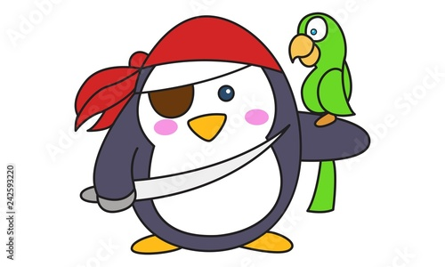 Wall Murals Bears Vector cartoon illustration of cute pirate penguin with sword and parrot. Isolated on white background.