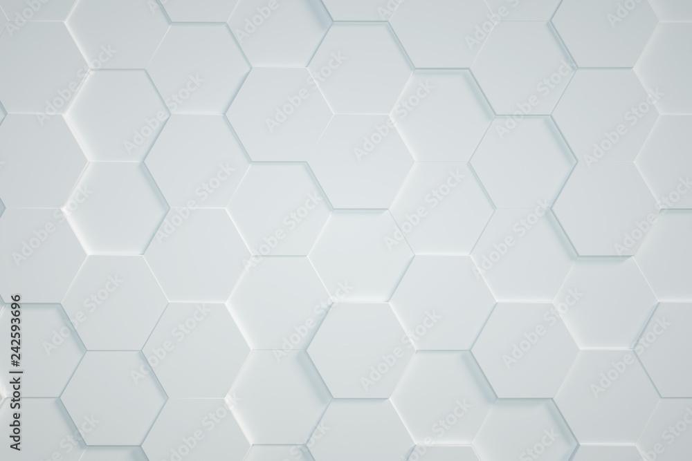 Fototapeta white Hexagonal background,3D render
