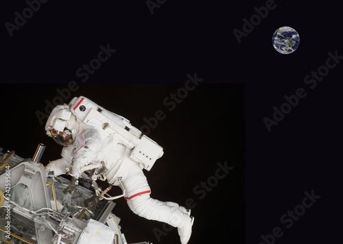 floating astronaut doing a spacecraft repair with the planet earth in the background (composite image with some elements courtesy of nasa)