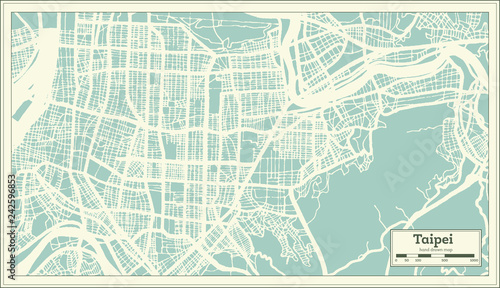 Cuadros en Lienzo Taipei Taiwan City Map in Retro Style. Outline Map.