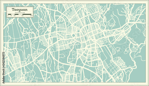 Fototapety, obrazy: Taoyuan Taiwan City Map in Retro Style. Outline Map.