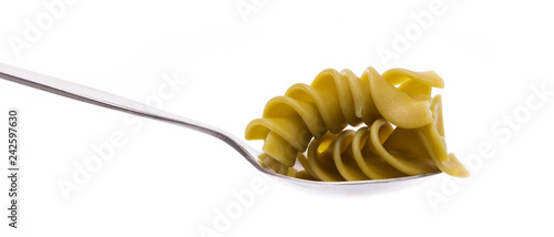 Spoed Foto op Canvas Verse groenten spoon of pasta isolated on white background