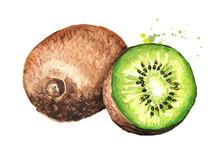 Ripe Whole Kiwi Fruit And Half...