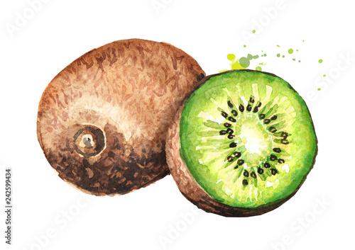 Fotografie, Obraz Ripe whole kiwi fruit and half kiwi fruit