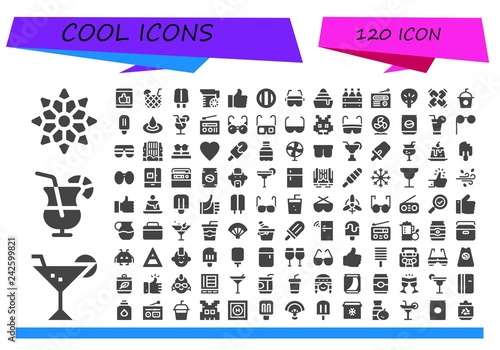 Fotografia  Vector icons pack of 120 filled cool icons