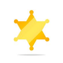 Golden Sheriff Star Vector Iso...