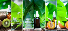 Organic Bio Fruits And Plants Oils Collage . The Theme Of Natural, Organic Cosmetics . Beauty And Care
