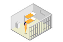 Isometric Prison Cell. Vector Jail, Incarceration Concept. Vector Illustration