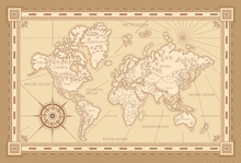 Classic Style Of World Map With Compass And Ornamental Frame In Brown Monochrome