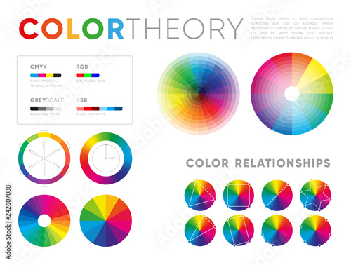 Set Of Various Templates For Color Theory Showing Circles With Shades Blending On White Background