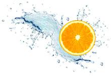 Orange Slice Splash Water Isol...