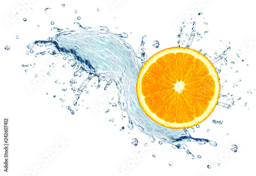 Foto auf Leinwand Wasserfalle Orange slice splash water isolated on a white background
