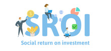 SROI, Social Return On Investment. Concept With Keywords, Letters And Icons. Colored Flat Vector Illustration. Isolated On White Background.