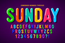 Flat Bubble Comical Font Desig...