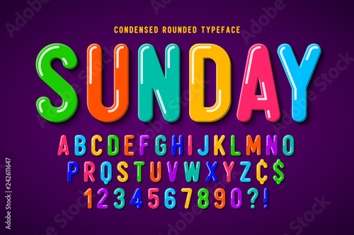 Tablou Canvas Flat bubble comical font design, colorful alphabet
