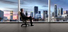 Businessman In An Empty Office For A Startup Or Failure And Bankruptcy In Los Angeles