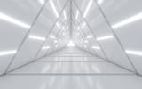 Fototapeta Perspektywa 3d - Illuminated corridor interior design. 3D rendering.