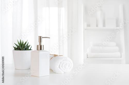 In de dag Spa Ceramic soap, towel, copy space on blurred white spa background