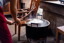 Woman Preparing Rice Noodles T...