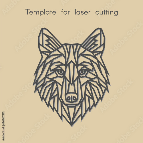 Template Animal For Laser Cutting Abstract Geometric Wolf