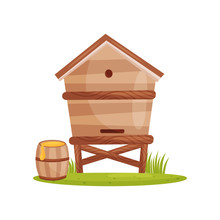 Large Wooden Beehive And Barrel With Sweet Honey. Bee House. Farm And Apiary Theme. Cartoon Vector Design
