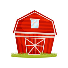 Red Wooden Barn And Green Lawn. Large Farm Building. Rural Architecture. Countryside Theme. Cartoon Vector Design