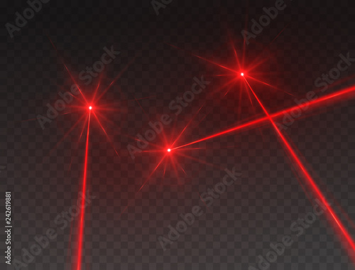 Fotografía  Laser beams isolated on transparent background