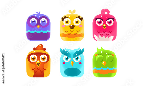Fotografie, Tablou  Collection of colorful glossy birds, lovely bright birdies vector Illustration