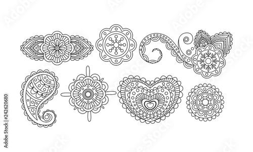 Elegance abstract monochrome floral hand drawn mandala stylized ornaments vector Fototapet