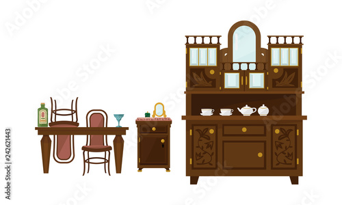 Fotografia, Obraz  Retro dining room interior with table, chairs and sideboard vector Illustration