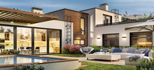 Beautiful Modern House With Access To The Terrace With Rooftop Swimming Pool