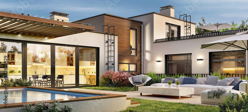 Beautiful modern house with access to the terrace with rooftop swimming pool Fototapete