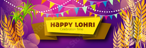 Fényképezés  illustration of Happy Lohri holiday celebrating harvest festival of Punjab India Lohri Vector illustration with calligrapgy and beautiful background