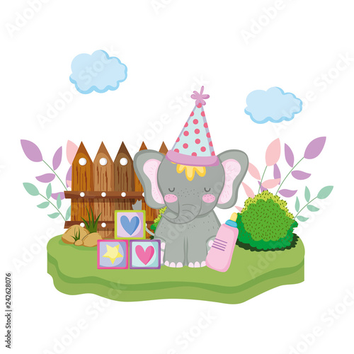 Poster Castle cute and little elephant with party hat