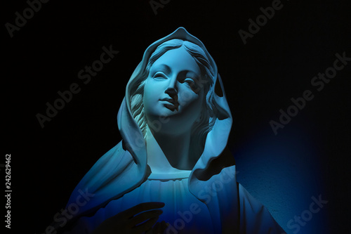 Fototapeta Virgin Mary on blue light