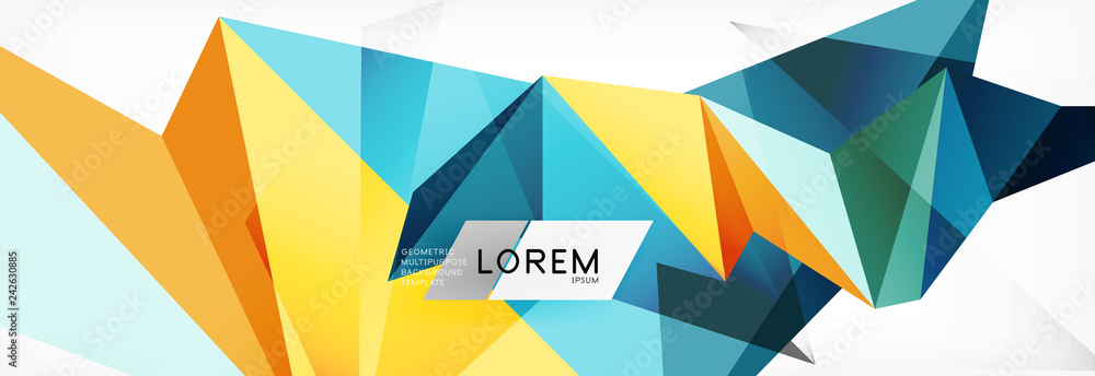 Fototapety, obrazy: Mosaic triangular low poly style abstract geometric background. Polygonal vector. Abstract white bright technology design.