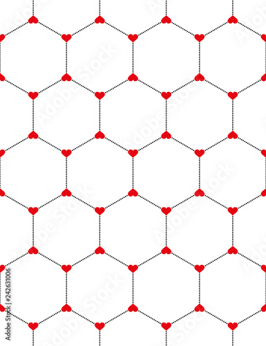 Honeycomb graphic with hearts seamless pattern over white Canvas Print
