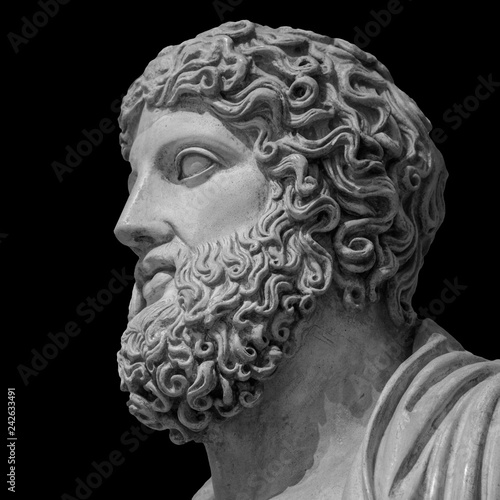 Marble statue of greek god Zeus isolated on black background Wallpaper Mural