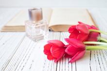 Women's Perfume And Tulips On ...