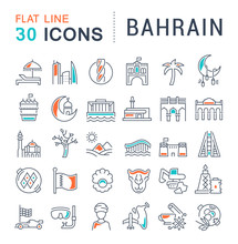 Set Vector Line Icons Of Bahrain.