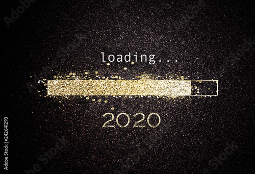 2020 New year background with loading bar Canvas Print