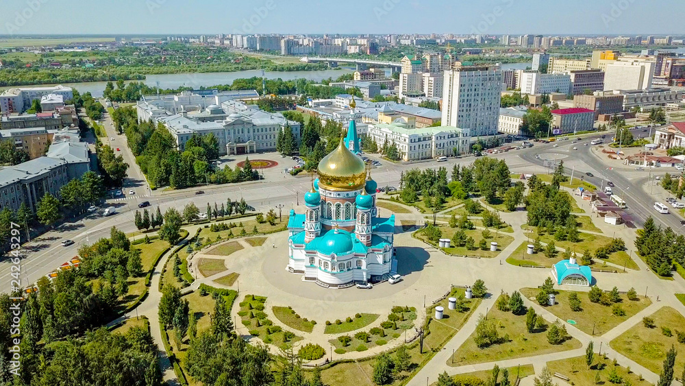 Fototapety, obrazy: The Cathedral of the Assumption of the Blessed Virgin Mary, panoramic views of the city. Omsk, Russia, From Dron