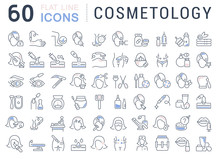 Set Vector Line Icons Of Cosme...